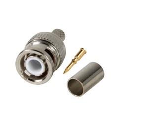 BNC crimp connector RG59, BNC crimp connector for coax cable RG59 and URM70, per 5 pieces High-quality BNC crimp connector to be used with RG59 coax cable. For crimping tool see crimping tool for RG59 and RG11