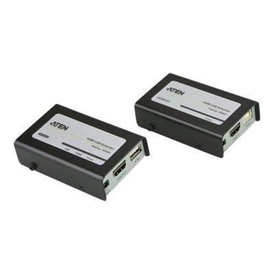 HDMI extender USB insieme Ate utilizza due CAT5e / 6 cavi UTP per estendere il display HDTV per estendere un monitor ad un massimo di 40 metri di fronte a una risoluzione video di 1080p, o 60 m con 1080i HDTV, nonché per un dispositivo USB come un mouse .