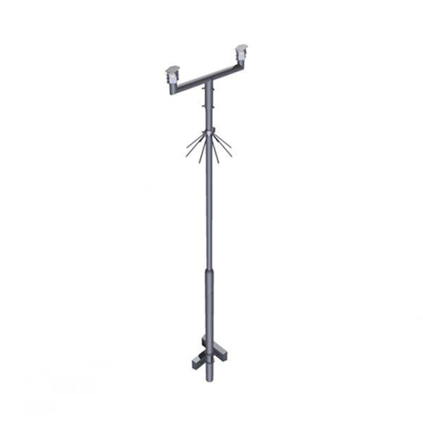 Complete set consisting of a cylindrically extending fixed mast that protrudes 4 meters above ground level, is equipped with climbing protection and has grounds for secure anchoring.