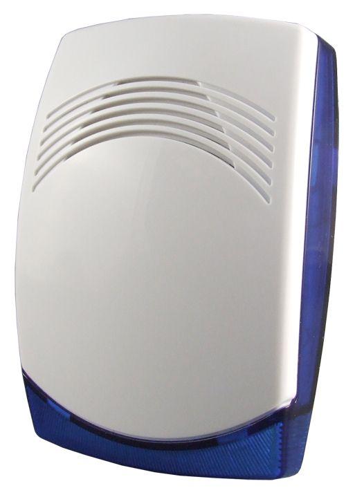 Universelle verdrahtete Innensirene mit 2 hellblauen LED-Taschenlampen (12 V, 115 dB), einstellbar mit zwei verschiedenen Tönen (Tieftöner und Dauerbetrieb). Technische Daten: • Stromversorgung: 6 bis 16 V DC • Stromverbrauch: 500 mA
