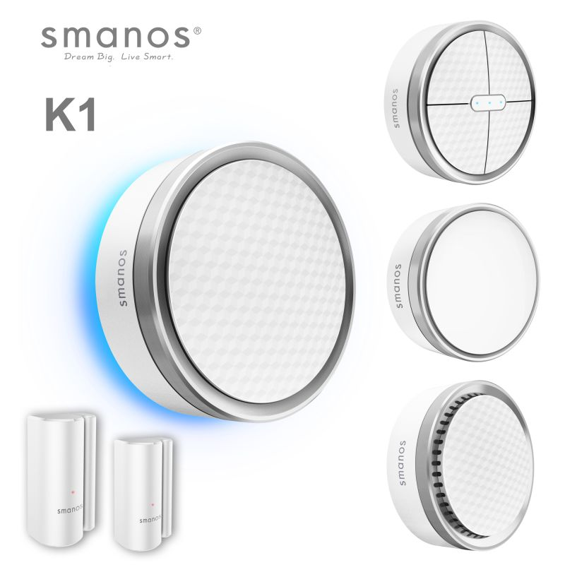 The K1 Smart Home System is the latest wireless and integrated Smart Home and security gateway of smanos that combines various security functions with sleek design that you are used to from Smanos.