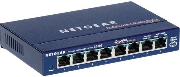 Ce commutateur Gigabit Ethernet Prosafe plus 8 ports de NetGear GS108GE offre des performances optimales et peut se connecter jusqu'à 10 fois plus vite que Fast Ethernet. Jusqu'à 60% de réduction de la consommation d'énergie et le mode d'allumage automati