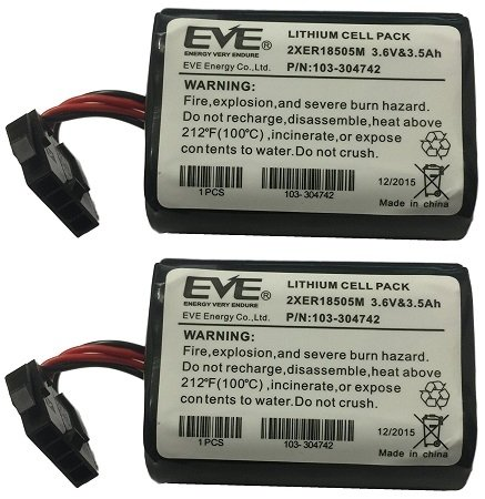 BATTERY LITHIUM 2-Pack Incl Cable