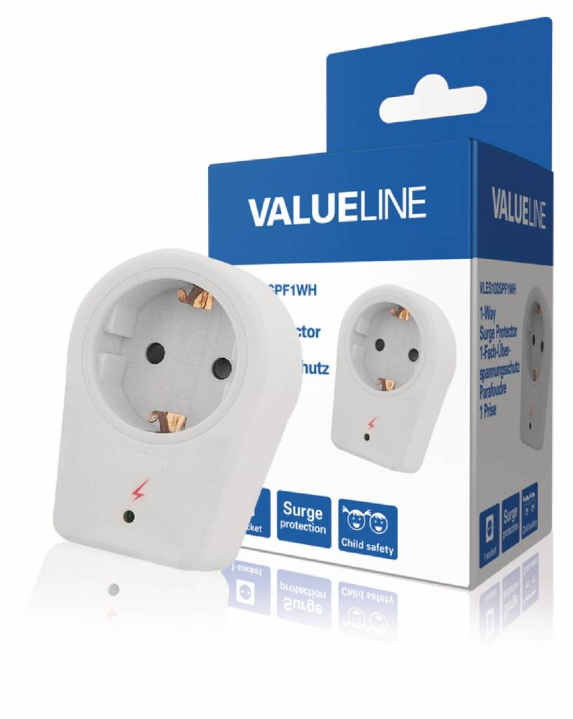 Surge protector with child protection to protect electrical equipment against damage caused by power surges.
