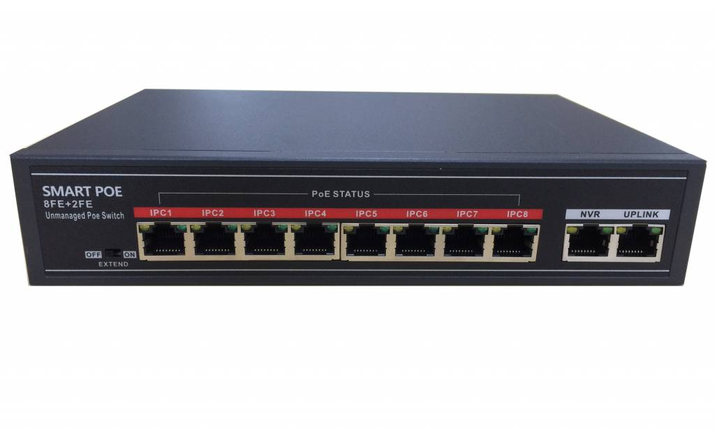 10 port PoE switch (8x PoE and 2x uplink), 10 / 100Mbit / s desktop model, ideal for connecting and feeding IP cameras up to 100 meters (CAT5E) and up to 250 meters (CAT6) For a compact, simple and fast application with IP camera systems for small busines
