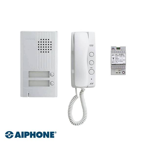 Aiphone Audio set includes 1x DA-1DS door station, DA-1MD indoor station, and PT-1211C power supply. Electric lock can be attached by the door station. Background lighting at the door station. 2 wire system, simple installation.