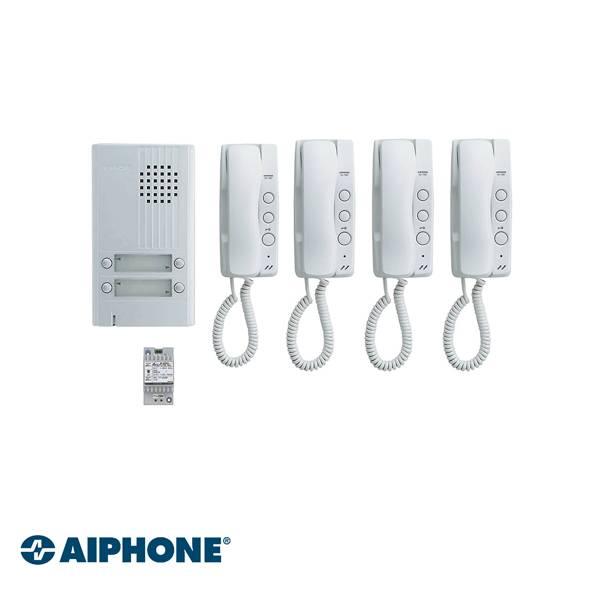 Aiphone Audio set 4 apartamentos Incluido: 1 x DA4DS + 4x DA1MD + 1 x PT1211DR. 2 cables por apartamento (si hay 1 fuente de alimentación por bocina). Estación de puerta de cuerpo extra delgado: placa frontal de aluminio de 22 mm. 2 pares por publicación