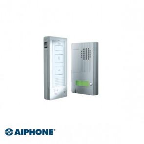 Aiphone Sistema manos libres de audio 1 apartamento, funcionamiento manos libres Dos cables desde la estación principal a la estación de la puerta y desde la estación de la puerta a la posible cerradura eléctrica, función de intercomunicación entre las es