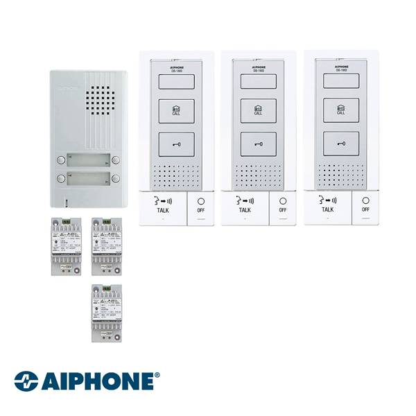 Included: DB-1MD x 3, DA-4DS x 1, PT-121DR x 3. Fully 2-wire, including power door lock. Does not require an additional power supply for the operation of the door opener.