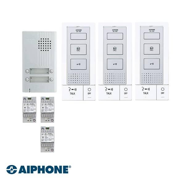 Incluso: DB-1MD x 3, DA-4DS x 1, PT-121DR x 3. Completamente a 2 fili, inclusa la serratura elettrica. Non richiede un'alimentazione supplementare per il funzionamento dell'apriporta.