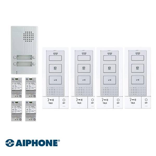 Incluído: DB-1MD x 4, DA-4DS x 1, PT-121DR x 4. Totalmente de 2 fios, incluindo fechadura da porta elétrica. Não requer uma fonte de alimentação adicional para o funcionamento do dispositivo de abertura da porta.