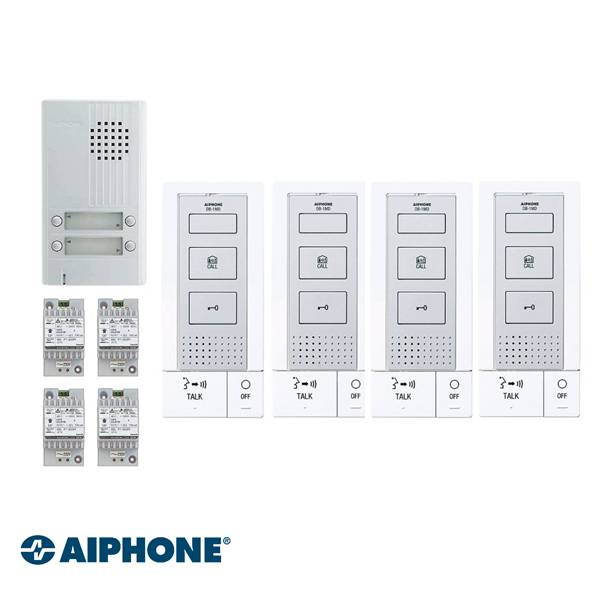 Incluso: DB-1MD x 4, DA-4DS x 1, PT-121DR x 4. Completamente a 2 fili, inclusa la serratura elettrica. Non richiede un'alimentazione supplementare per il funzionamento dell'apriporta.