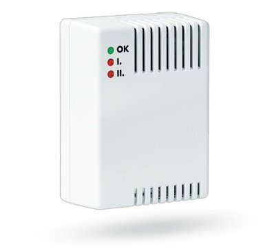The Jablotron GS-133 gas leak detector responds to flammable gases (natural gas, city gas, propane butane gas, etc.) by sending a fire alarm signal. He detects 2 levels of concentrated gases.