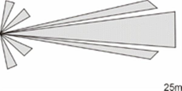 La lente a tenda Jablotron JS-7904. Questo obiettivo corridoio ha una portata di 25 metri di lunghezza
