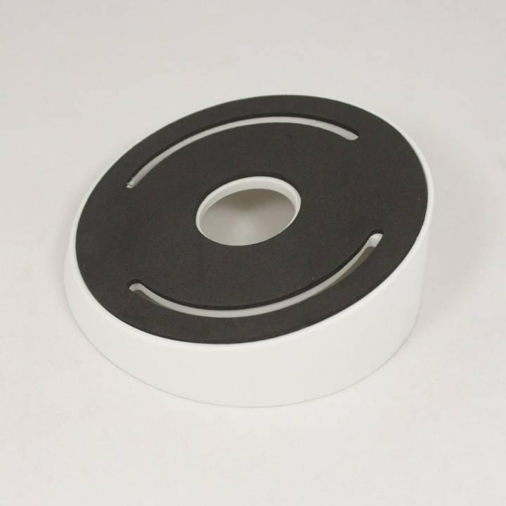 Soporte de montaje en techo Hikvision DS-1259ZJ para cámara domo IP serie DS-2CD21XX. Este soporte es útil si la cámara debe colocarse muy baja contra un techo o voladizo.