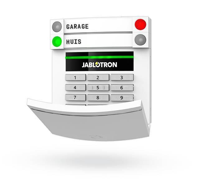 Jablotron JA-153E Draadloos codebedienpaneel met RFID en toetsenbord.