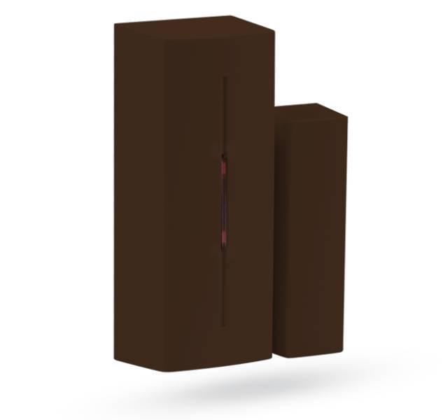 O detector magnético sem fio Jablotron JA-183MB - tamanho mini foi projetado para detectar a abertura de portas e janelas. O detector de ímãs responde à remoção do ímã.