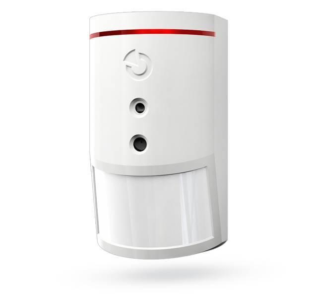 Il rilevatore di movimento PIR wireless Jablotron JA-160PC con fotocamera integrata. La fotocamera scatta foto a colori con una risoluzione fino a 640 x 480 pixel di ...