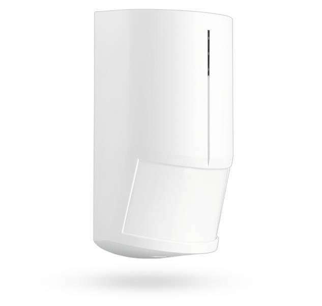 El detector de movimiento PIR inalámbrico Jablotron JA-180P detecta el movimiento humano dentro de edificios con muchas entradas. La respuesta puede ser inmediata o demorada.