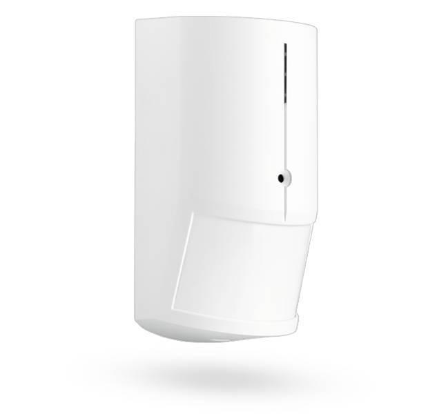 O detector PIR e vidro sem fios ruptura JA-180PB combina o sensor de movimento JA-180P de PIR com um sensor de quebra de vidro em uma habitação. Ambos os detectores são registrados separadamente na central.