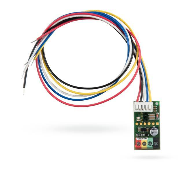 The Jablotron JA-111H-AD BUS module for system operation is designed to be placed inside an external control device (with contact outputs) and supplies a power supply for that device.