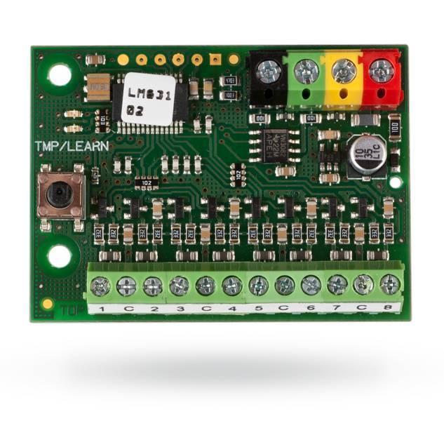 El módulo BUS JA-118M para detectores magnéticos - 8 entradas está diseñado específicamente para la conexión de los detectores magnéticos.
