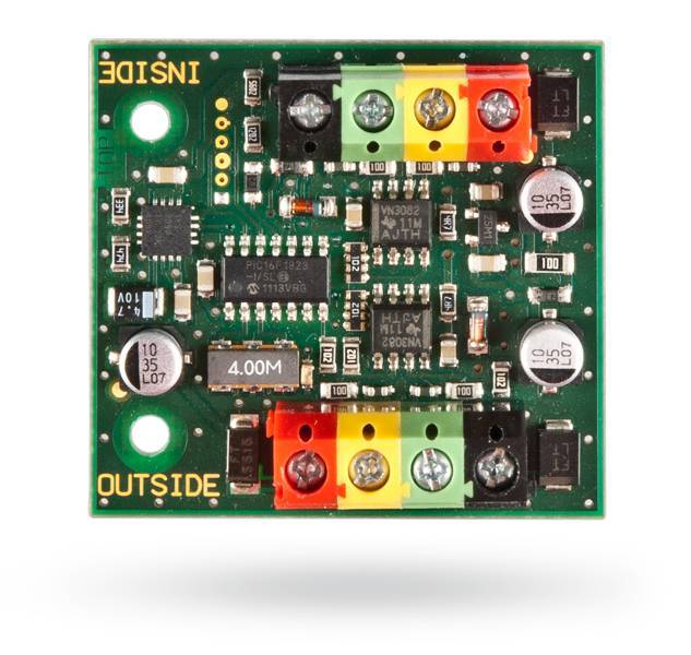 The Jablotron JA-110T BUS short circuit isolation module is designed to separate and protect unprotected parts of the BUS wiring. It is powered by the BUS from the exchange.