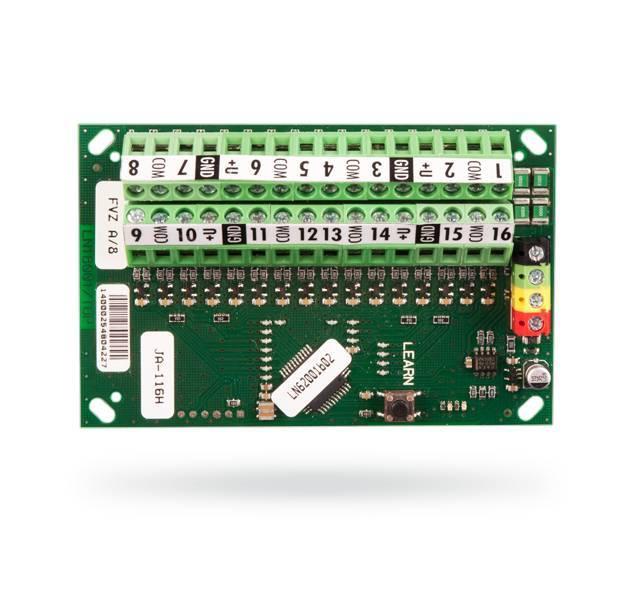 De Bus expander is een uitbreidingsmodule die wordt gebruikt voor het aandrijven en het aansluiten van maximaal 16 sensoren  met contactuitgangen . Deze uitbreiding maakt het mogelijk om Jablotron en niet Jablotron gerelateerde producten zoals infrar...