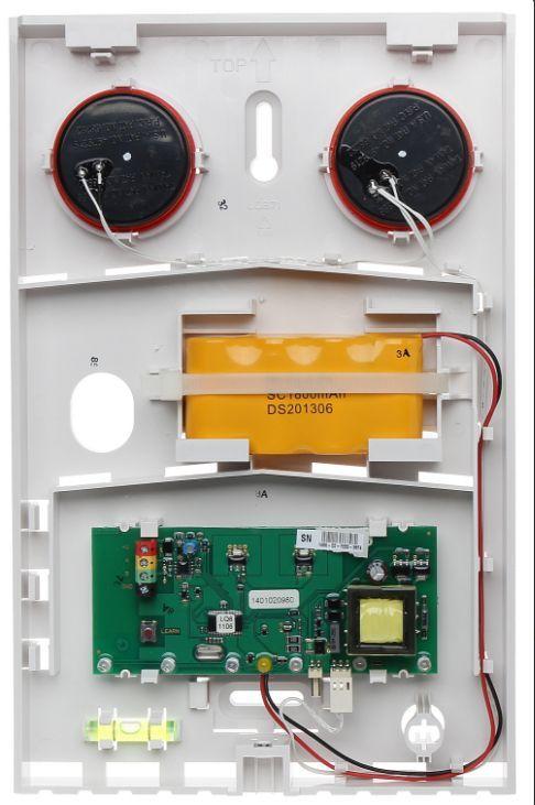 La base de sirène externe BUS Jablotron JA-111A est conçue pour les alarmes sonores, les tonalités et l'activation et la désactivation de la sortie PG. Cette sirène doit être munie d'un couvercle. La sirène communique et est alimentée par le BUS du pannea