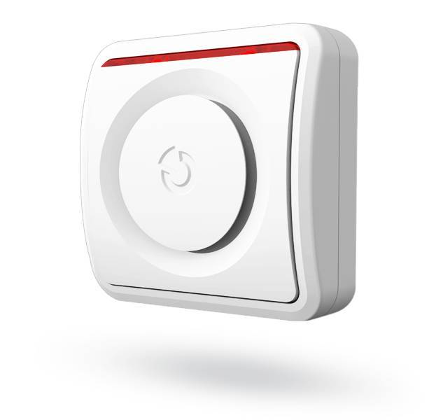The Jablotron JA-150A wireless indoor siren is designed for sound alarms, entry and exit delays or other activations of the alarm system.