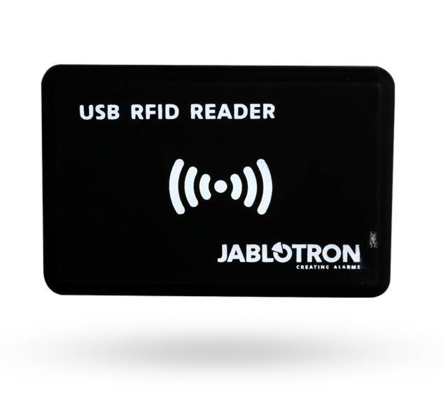 Die RFID-Karte und der Tag-Reader Jablotron JA-190T für den PC (über USB angeschlossen) ermöglichen das einfache Einlesen des JA-190J und des JA-191J in das JA-100-System mithilfe der F-Link-Software.