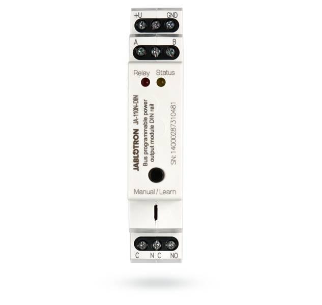 O módulo de potência JA-110N-DIN DIN Bus é projetado para trilho DIN. O módulo fornece energia para a saída do relé. Ele pode ser usado, por exemplo, para a iluminação