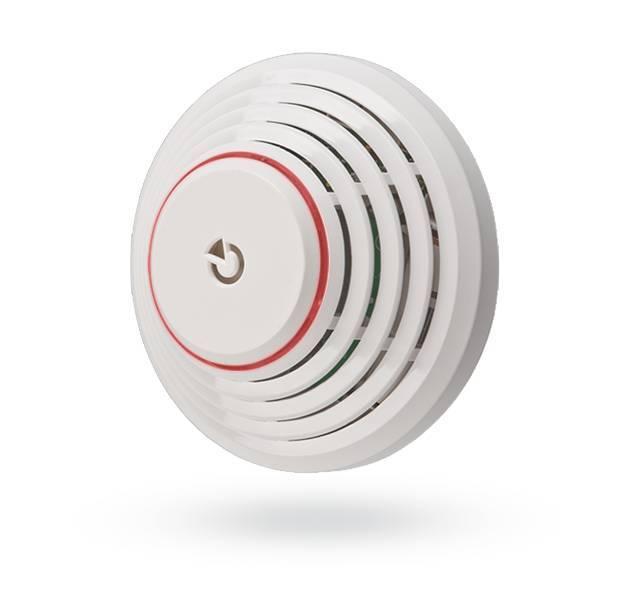 Il rivelatore di fuoco e calore JA-151a wireless è progettato per rilevare la presenza di fuoco e calore. Un allarme viene segnalato acusticamente e visivamente da una sirena incorporata.