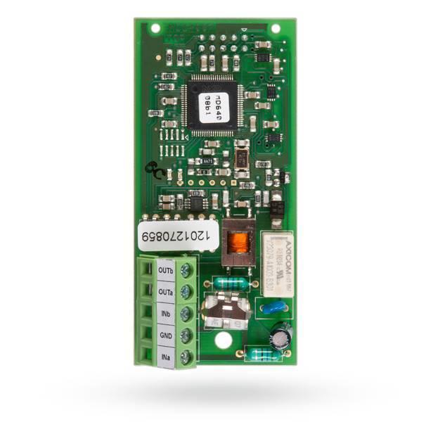 O módulo de comunicações PSTN JA-190X fornece estação de monitoramento de comunicações e / ou mensagens de voz.