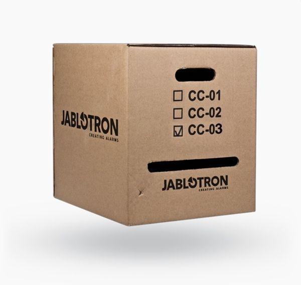 Kabel CC-03 ist für eine einfache Installation des Busses für das JABLOTRON 100-System mit zwei anderen Paaren von Hilfsführungen eingesetzt.