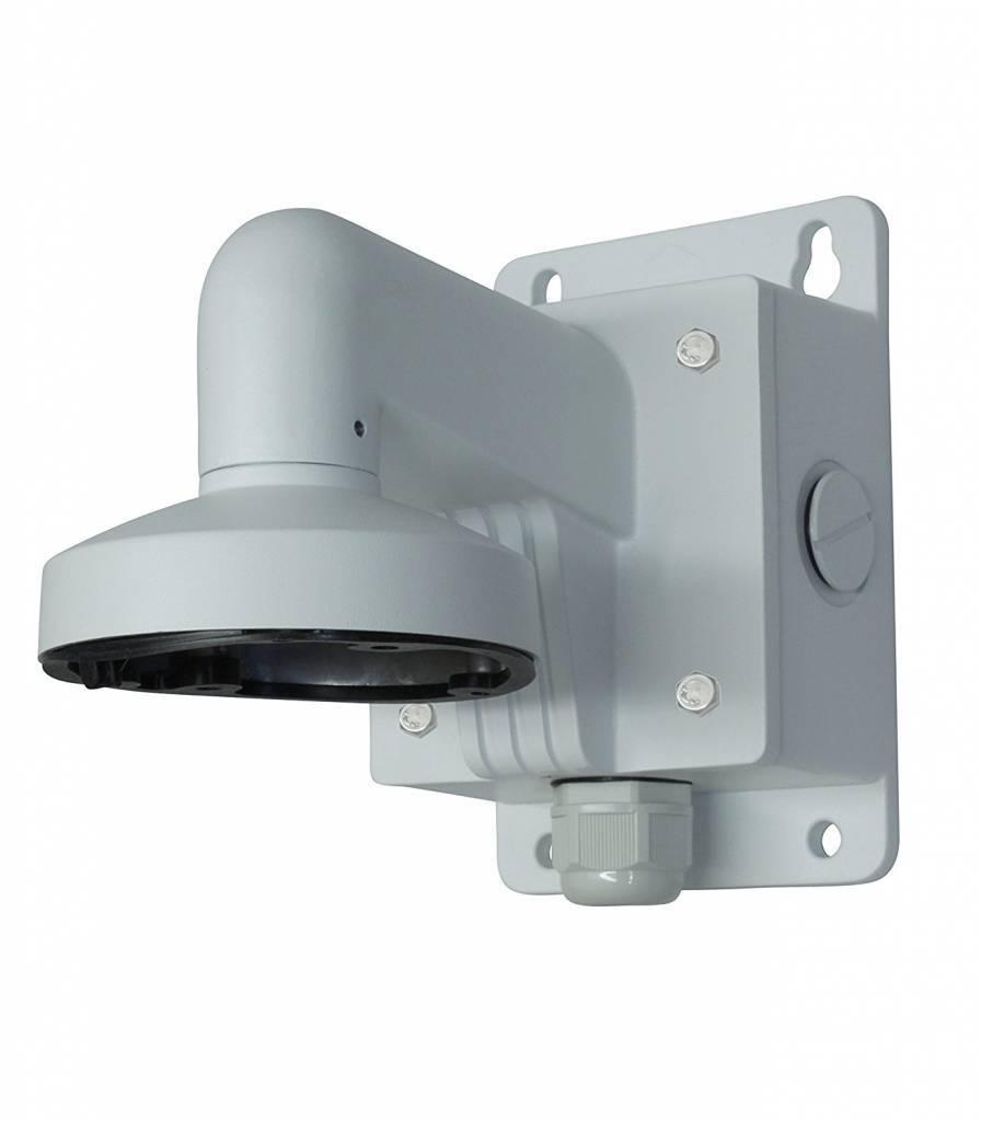 soporte de pared Hikvision DS-110B 1272ZJ de aluminio que sirve cámaras DS 2CD21xx. Además, para las cámaras de líneas Turbo DS-2CE56C2T-IT3 y DS-2CE56D5T-IT3 son adecuados. Este soporte está provisto de una caja de conexiones.