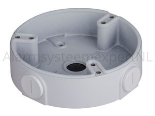Dahua PFA136 outdoor mounting box with IP cameras HDBW1000 / 1200E (-S / -W), HDBW4100 / 4200 / 4300E (-S / -AS), HDBW4800E, and HDCVI cameras HDBW1100 / 1200/2120 / 2220E