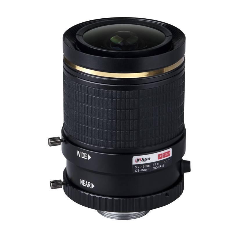 Varifocal Dag /Nacht ( IR gecorrigeerd) auto -Iris (DC), 12MP 4K lens, F1.5, openingshoek 35,6- 145 graden, CS-mount