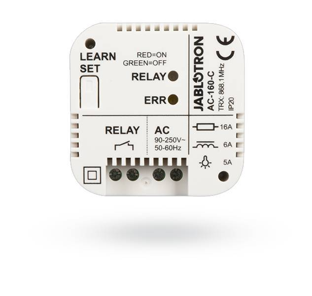 The relay can also be installed as a stand-alone device that responds to the activation of, for example, unidirectional wireless detectors of the JA-15x series. In this case, the relay is activated in accordance with the ...
