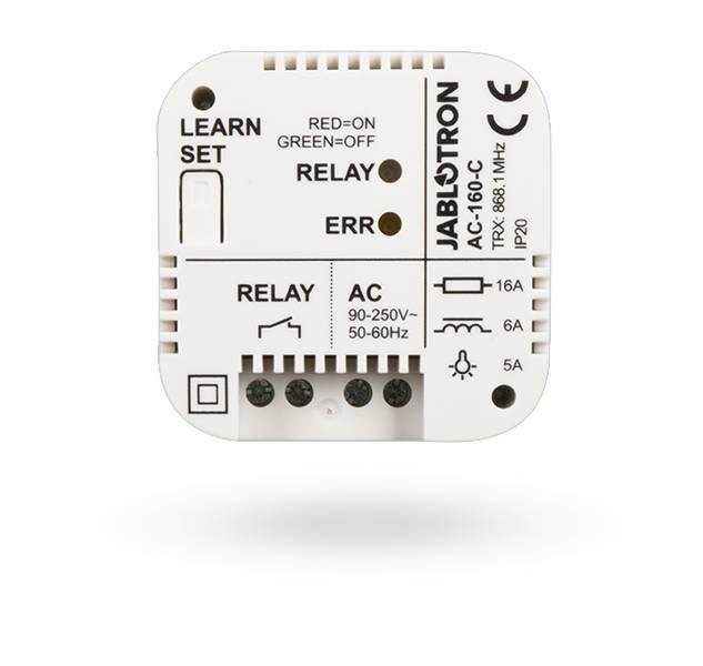 Le relais peut également être installé en tant que dispositif autonome, qui est sensible à l'activation, par exemple, des détecteurs sans fil unidirectionnelles de la série JA-15x. Dans ce cas, le relais est activé conformément aux paramètres de la suite