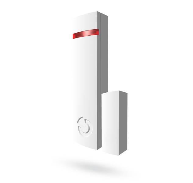El detector de JA-150M de (B) está diseñado para detectar la apertura de una ventana o puerta. Controla dos respuestas conductuales básicos: estado o pulso respuestas a la apertura. También contiene dos entradas IN1 e IN2. Este contacto magnético ofrece p