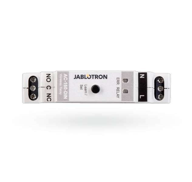 El relé-Multi-función DIN AC-160 inalámbrico es un componente del sistema 100 JABLOTRON, pero también puede ser instalado como un dispositivo autónomo sin ningún enlace a un panel de control. Proporciona un interruptor de contacto de relé con ...