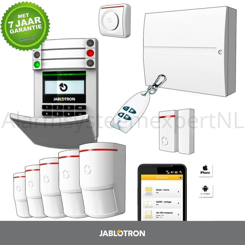 The Jablotron 100 GSM wireless alarm system 101KR-LAN KIT adapts flexibly to the security requirements of any home or business. Independent arming of the individual zones ensures monitoring of only the selected areas that are on ...