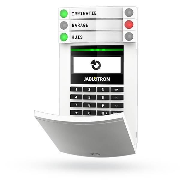 Das Jablotron JA-154E ist ein drahtloses Zwei-Wege-Zugangsmodul mit einem LCD-Bildschirm, einer Tastatur und einem RFID-Lesegerät zur Steuerung des Sicherheitssystems.