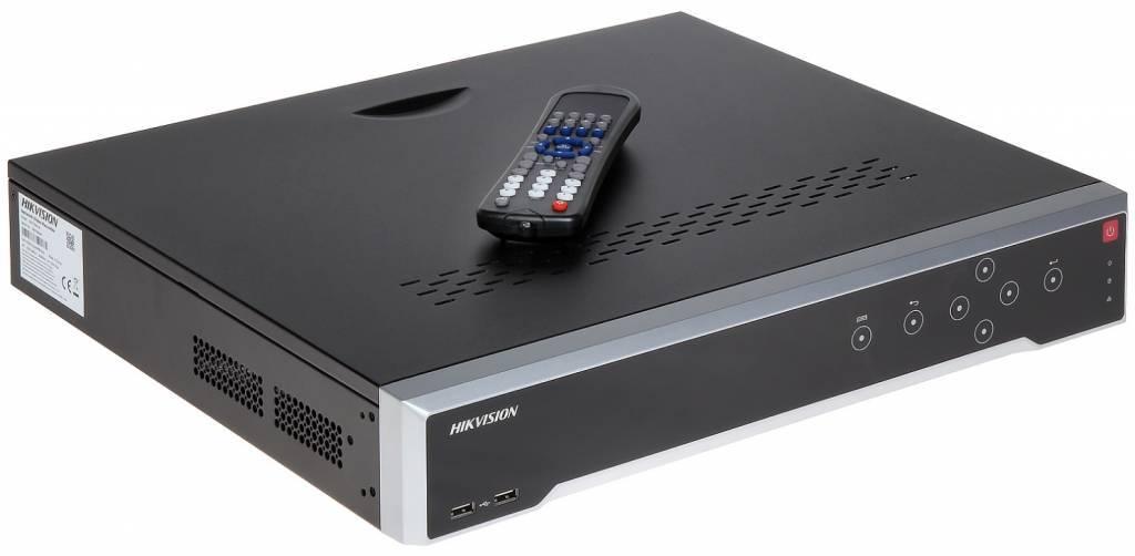 """El Hikvision DS-7732NI-I4 es un NVR de 32 canales y 19 """"con una salida HDMI 4K Ultra HD. Este NVR administra y graba localmente hasta 32 cámaras IP. Esta grabadora admite un ancho de banda entrante máximo de 160 Mbps y puede grabar cámaras de hasta 12 MP"""