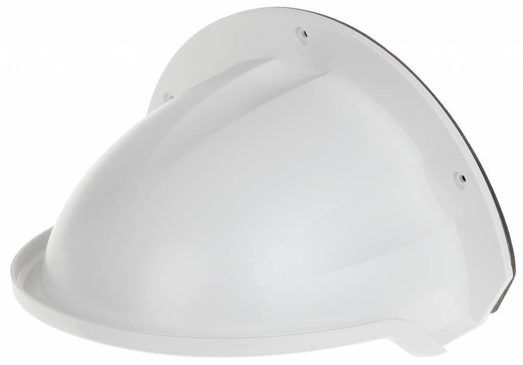 Hikvision rain hood DS-1250ZJ para cámaras domo Hikvision. Cuando la cámara domo se coloca verticalmente, esta campana se puede montar encima de la cámara y el domo domo se ve menos afectado por las gotas de lluvia. Reduce el reflejo de los LED IR.