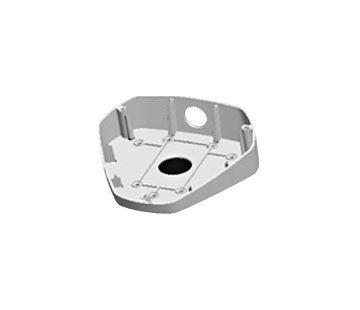Abgewinkelte Aufputzbox DS-1281ZJ-DM25 für die Hikvision 6-Linien-Fisheye-Kameras.