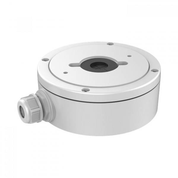 Caixa de montagem Hikvision em alumínio DS-1280ZJ-DM22 para a câmera dome da série DS-2CD25xxs da Hikvision. Com esta caixa montada na superfície, a câmera pode ser facilmente colocada contra, por exemplo, uma superfície de concreto ou pedra.