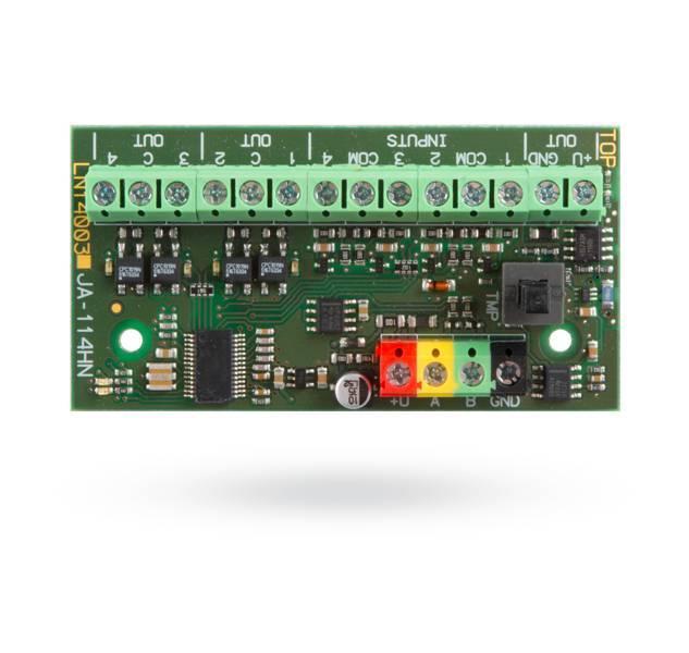Um módulo de bus, que é quatro entradas com fio com valores EOL-resistência, ajustáveis, quatro electricamente isolados PG-sinal-saídas, e uma fonte de alimentação adicional, protegido com um fusível eletrônico. Além disso, os valores da resistência do ti