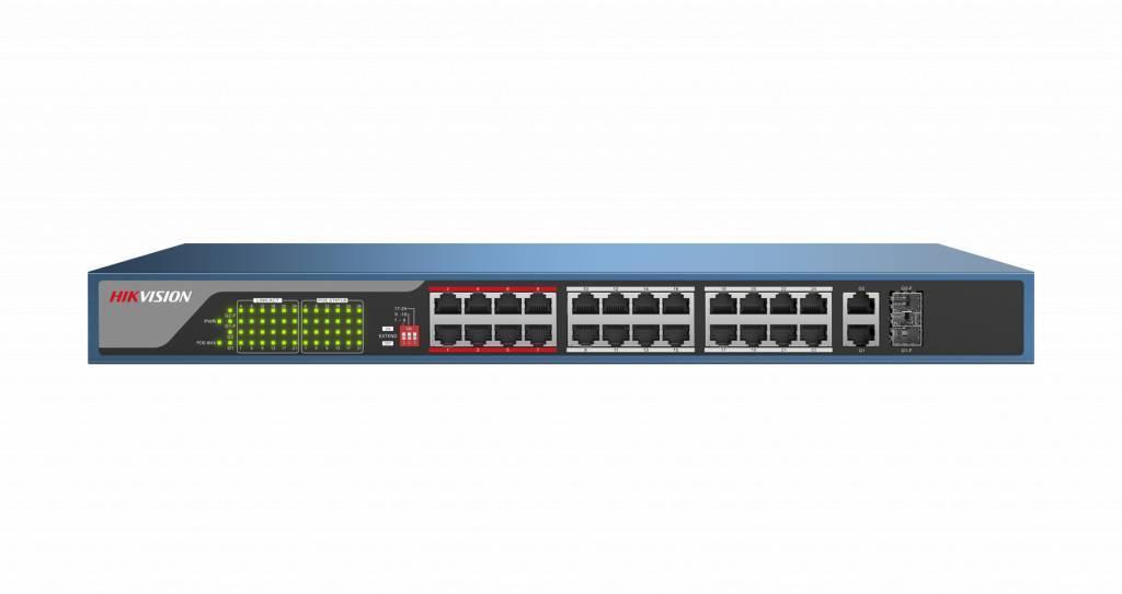 interruttori speciali CCTV da Hikvision sono progettate per impostare in modo ottimale la rete. interruttori a circuito chiuso sono dotati di un range extender built-in offrendo una gamma enorme 250m con il tuo potere PoE!